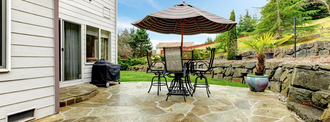 natural stone paver patio installed for backyard