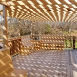 deck with benches and pergola
