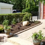 Front porch mulch and tree landscaping