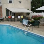 In ground pool with bar in the back