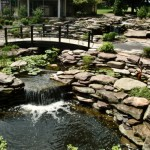 Erney Landscaping pond with waterfall surrounded by rock walls and steps
