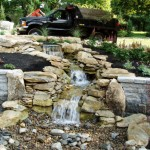 Erney Landscaping rock waterfall with three levels