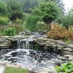 Large pond with waterfall landscaping